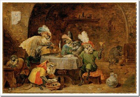 Monkey's Drinking - David Teniers
