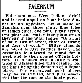 Falernum Recipe (1896)