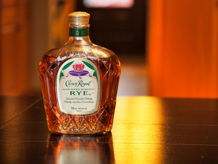 A bottle of Crown Royal Canadian Whisky