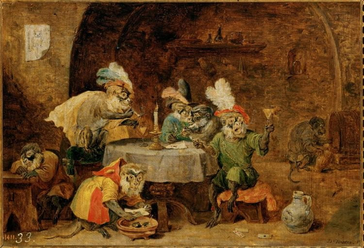 David Teniers Drinking Monkeys Painting