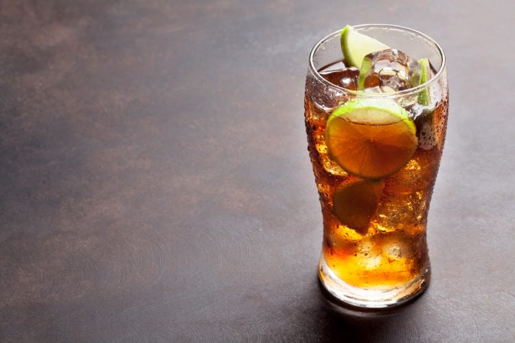 A simple highball, Rum and Coke also known as a Cuba Libre