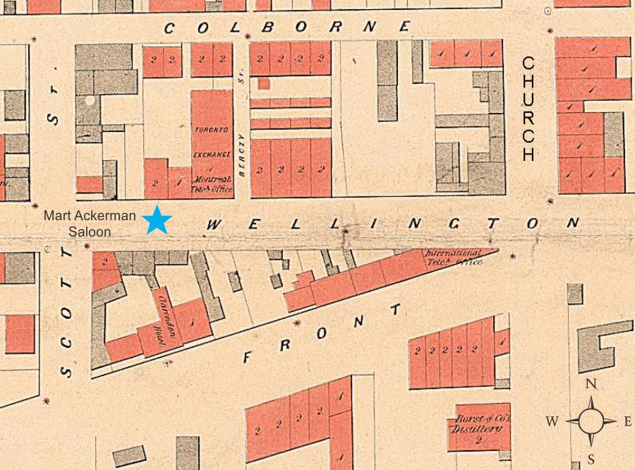 Location of Ackerman's Saloon Wellington Street