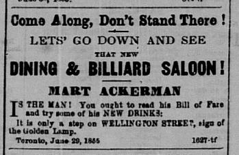 Mart Ackerman Saloon Ad 1855